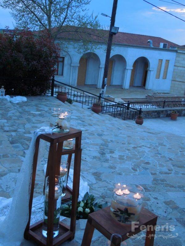 Στολισμός γάμου-σκάλες Καφέ Ξύλινα Φανάρια