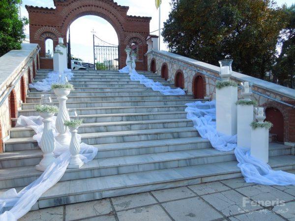 Στολισμός γάμου-σκάλες Λευκή λάκα