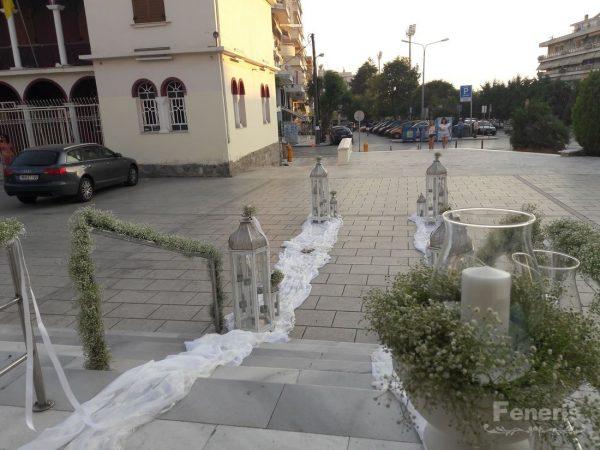 Στολισμός γάμου-σκάλες Λευκά Ασημί Φανάρια