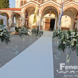 Στολισμός γάμου-διάδρομος γυάλινα βάζα